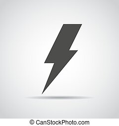 Lightning icon with shadow on a gray background. Vector illustration