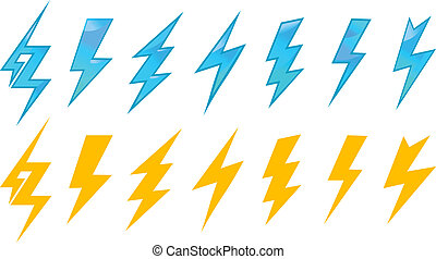 Lightning icons and symbols set isolated on white background