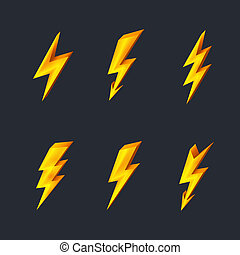 Lightning icons - Gold lightning icons on black background...