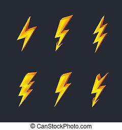 Lightning icons - Gold lightning icons on black background...