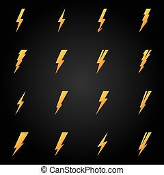 Lightning icons gold vector set