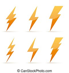 Lightning icons - vector.