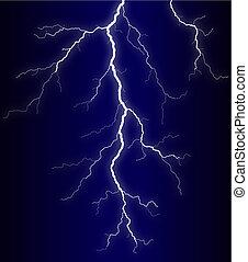 Illustration of a lightning bolt at night