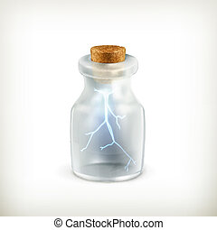 Lightning in a bottle, vector icon