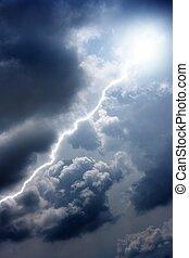 Lightning in dark sky - Dramatic background - bright...