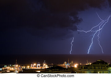 Lightning in Genova - Lightning into the sea near the port...
