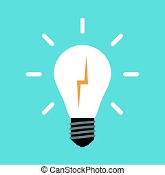 Lightning in white glowing light bulb isolated on blue background. Creativity, education and solution concept. Flat design. Vector illustration. EPS 8, no transparency