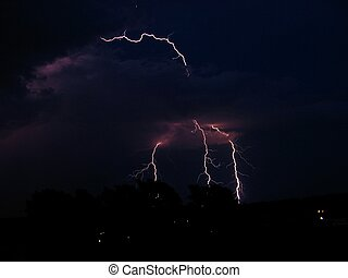 Lightning in the night sky