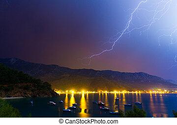 Lightning in the night sky under Adrasan bay.