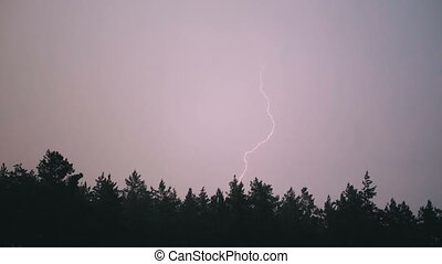 Lightning in the Sky During a Thunderstorm. Slow Motion in ...