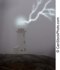 Lightning Lighthouse - Lightning strike, Lighthouse, Peggys...