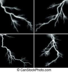 lightning - Lightning on black background