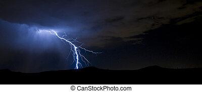 lightning - Lightning over volcanoes at night