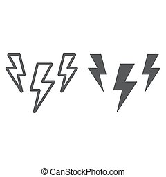 Lightning line and glyph icon, storm and forecast, thunder sign, vector graphics, a linear pattern on a white background.