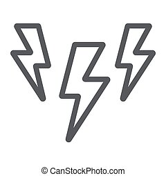 Lightning line icon, storm and forecast, thunder sign, vector graphics, a linear pattern on a white background.