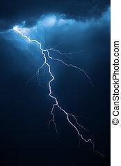 lightning, met, dramatisch, cloudscape