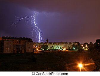 Lightning on the sky - Lightning over the city during the...