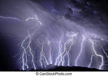 lightning, op, de, rincon, bergen