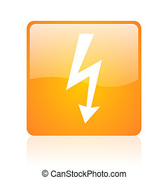 lightning orange square glossy web icon