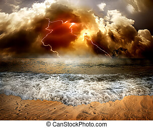 Lightning over sea - Storm clouds and lightning over the sea
