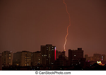 Lightning over the building