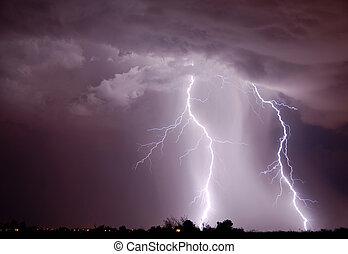 Lightning over the city, Tucson AZ