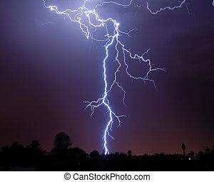 Lightning over the desert