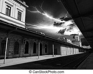 Lightning over the station