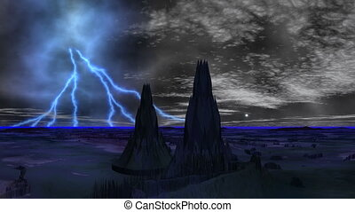 Lightning over towers of aliens
