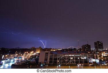 Lightning over Windsor, Ontario. - A lightning bolt over...
