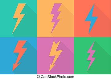 lightning, pictogram, plat, ontwerp, lang, schaduwen, vector, illustratie
