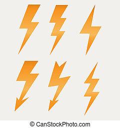 lightning, pictogram, plat, ontwerp, lang, schaduwen,...