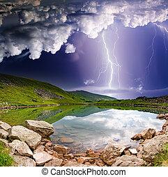 lightning - Thunderstorm with lightning in mountain...