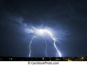 Lightning - Lightening over the landscape in the summer...