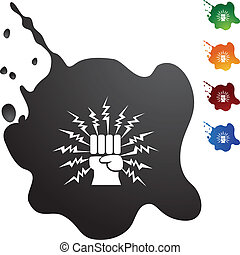 Lightning Punch - Lightning punch web button isolated on a...