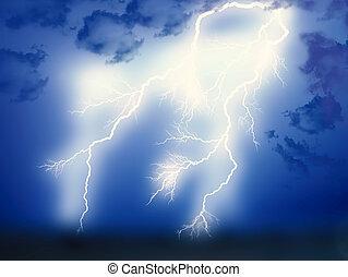 Lightning showdown  in the night