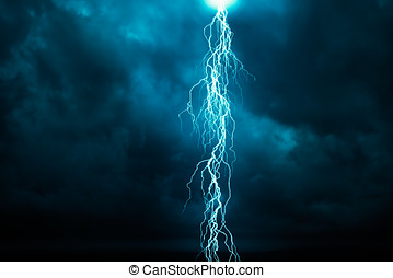 Lightning - A dark cloudy sky with lightning - computer...