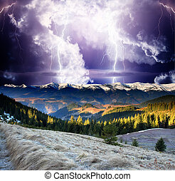 lightning - Thunderstorm with lightning in mountain...