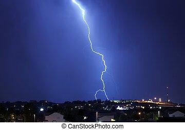 Lightning Strike Night Time Horizontal Photo. Lightning...