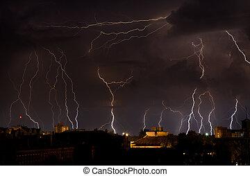 Lightning - Storm weather nature lightning at rain cloud sky