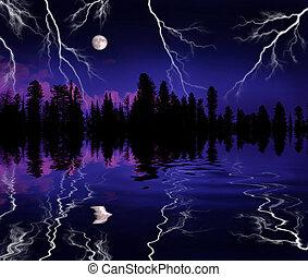 Lightning Storm in Wilderness
