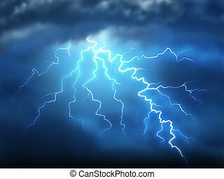 Lightning storm thunderstorm with a bolt of light...