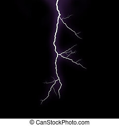Lightning strike - A lightning strike on the black...