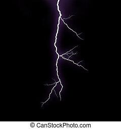 A lightning strike on the black background
