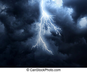 Lightning Strike - A lightning strike on the cloudy sky