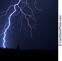 Lightning Strike at Night in the Country