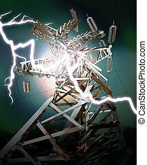 Lightning strike. Crash - Power Transmission Line. Lightning...