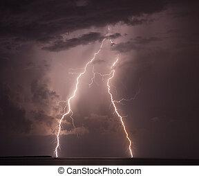 Lightning strike - Double lightning strike hits the water in...