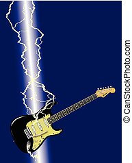 Lightning Strike Guitar - A electric guitar being struck by ...
