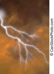 Lightning strike in clouds - White and blue forked lightning...
